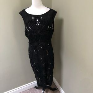 FRENCH CONNECTION Art Deco Beaded Lace Cocktail Dress with Mirrored Sequins